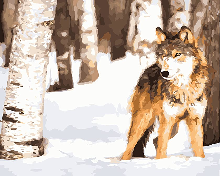 Wolf in Snow Paint by Numbers for Adults DIY Acrylic Painting Kit by MaileKai Creates, 16x20 inches, Wooden Framed Linen Canvas, 4 Professional Brushes