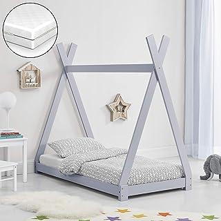 [sv.casa] Barnsäng med madrass tipi design furu säng träsäng hussäng kallskummadrass ekotex standard 100 allergikerlämplig...