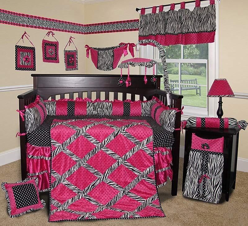 SISI Baby Bedding Hot Pink Zebra 15 PCS Crib Bedding
