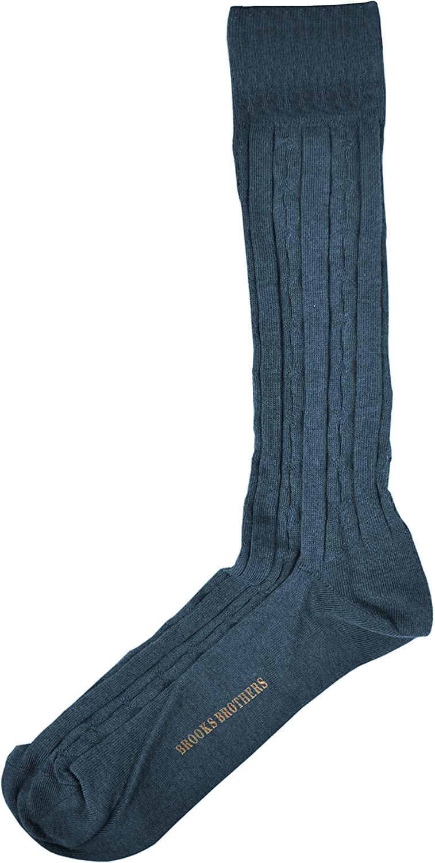 Brook Brothers Mens Cotton Blend Cable Knit Pattern Mid-Calf Dress Socks Sz 7-12