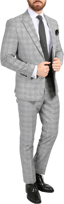 Ferrecci Men's Suit Skinny Slim Fit Grey 2 Piece Glen Plaid Peak Lapel Suit