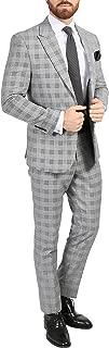 Ferrecci Men's Conrad Skinny Slim Fit Grey 2pc Glen Plaid Peak Lapel Suit
