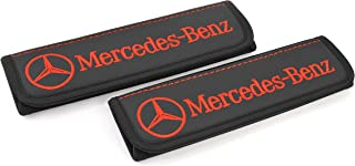 Car Interior Seat Belt Covers for Adults Black Shoulder Pads Seatbelt Cover pad with Embroidered red Emblem Accessories Compatible for Mercedes-Benz Great idea for a Gift to The Driver! 2 pcs