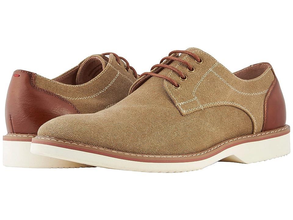 Florsheim Union Plain Toe Oxford (Khaki Canvas/Cognac Smooth) Men