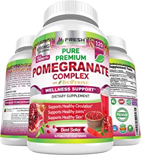 Premium Pomegranate Juice Powder Supplement 1200mg, Supports Healthy Blood Pressure, Joints, Skin & Anti Ag...