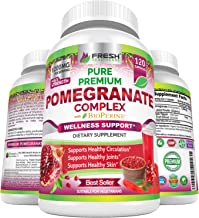 Premium Pomegranate Juice Powder Supplement 1200mg, Supports Healthy Blood Pressure, Joints, Skin & Anti Aging with Bioper...