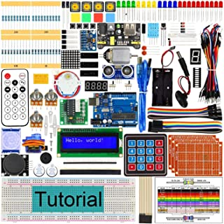 Docreate Ultimate Starter Kit with Development Board, 260 Pages Detailed Tutorial, 217 Items, 51 Projects, Solderless Breadboard