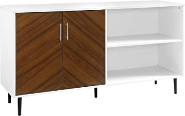 "Walker Edison Furniture Company Mid-Century Modern Chevron Wood Stand with Cabinet Doors for TV's up to 65"" Living Room Stora"