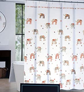Cynthia Rowley Fabric Shower Curtain Brown Taupe Beige Salmon Pink Elephants on White -- Decorated Elephant