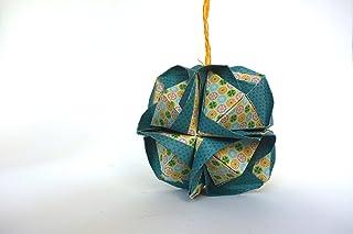 origami Clover Kusudama, 12 moduli verde e gialla