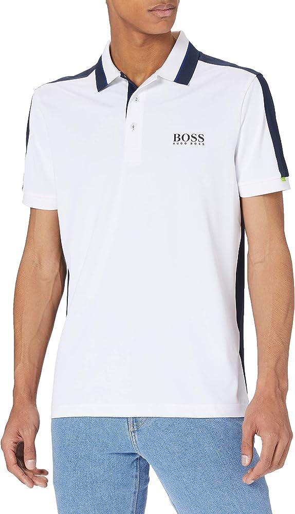 Boss polo , maglietta a maniche corte per uomo , 92% poliestere riciclato / 8% elastan 50448546B