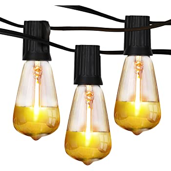 Brightech Ambience Pro - Gold Tip Teardrop String Lights - Waterproof LED Outdoor String Lights - Hanging Dimmable 1W LED Bulbs with Dazzling Gold Accent - 26 Ft Commercial Grade Patio Backyard Gazebo