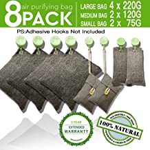 DTXDTech Bamboo Charcoal Air Purifying Bags 8 Pack(4X220g 2X120g 2X75g) Activated Charcoal Air Filter Natural Eco Friendly Moisture Absorber for Home, Car,Closet,Shoes