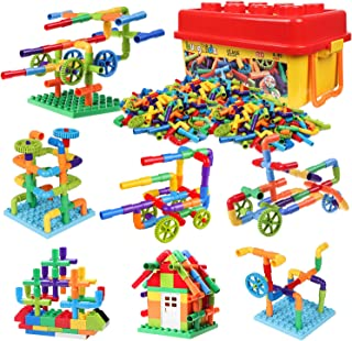 burgkidz 414 Pieces Toy Pipe, Creative STEM Tube Locks Construction with Wheels and Mini Baseplate, Interlocking Educational Sensory Kit, Preschool Learning Toys for Boy and Girls Ages 3+