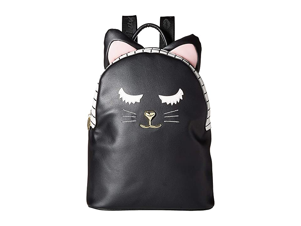 Luv Betsey LBMilla PVC Kitch Backpack w/ Cat Face 3D Ears (Black) Backpack Bags