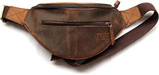 Genuine Leather Unisex Waist Pack Fanny Bag   Hip Bum Bag Organiser   Adjustable Belt to Carry Cell Phone Passport Travel Documents for Waist 34 to 42 inches   Outdoors Sports Hiking Travel Cycling