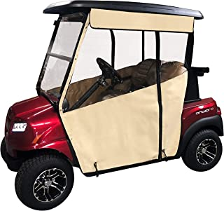 Golf Cart Cover – 3-Sided Track Style Sunbrella Canvas Cart Cover for Club Car Precedent –Drivable Golf Cart Cover – Rain Cover for Golfers– Fits Golf Bags, Utility Box or Rear Facing Seat