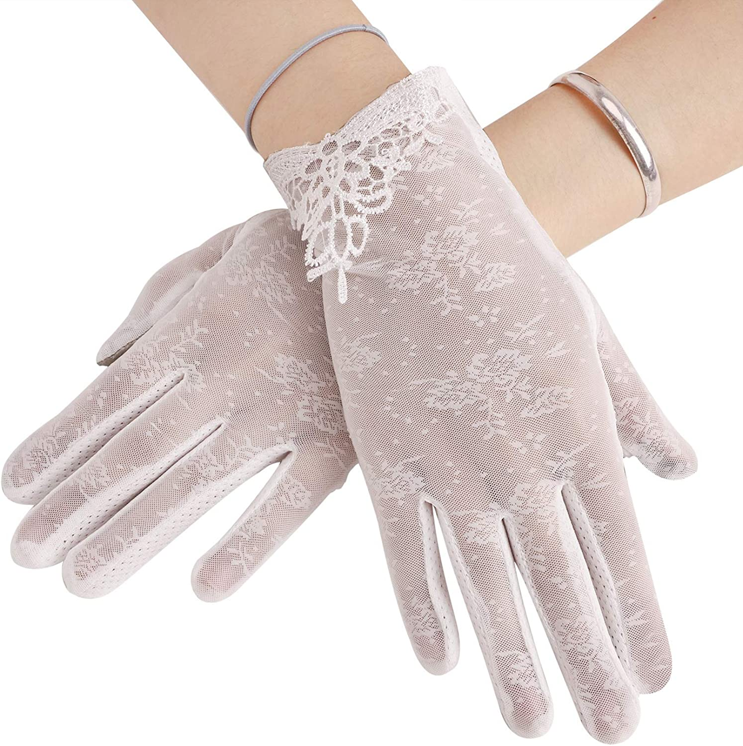 Floral Gloves Cotton Outdoor for Summer UV Protection,Tea Party Gloves Cotton Gloves. 9 Women/'s Driving Gloves Lace Gloves