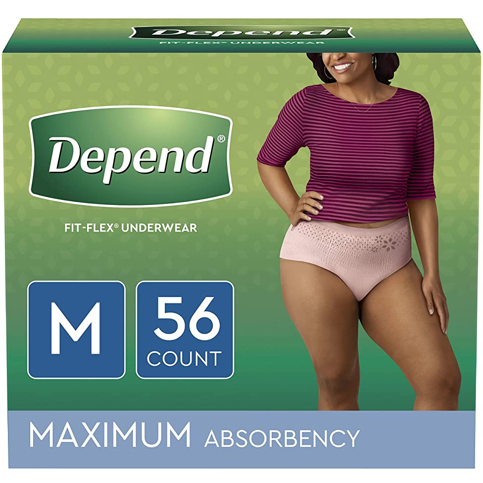 Depend FIT-FLEX Incontinence Underwear for Women, Disposable, Maximum Absorbency, M, Blush, 56 Count