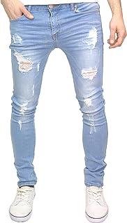 526Jeanswear Men's Kato Ripped Stretch Super Skinny Distressed Jeans
