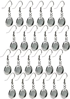 Bastex Silver Earring Blanks, Pack of 24 Units. Wire Hooks with Small 12mm Cabochon Settings. Perfect for DIY Jewelry Making Supplies and Earring Findings