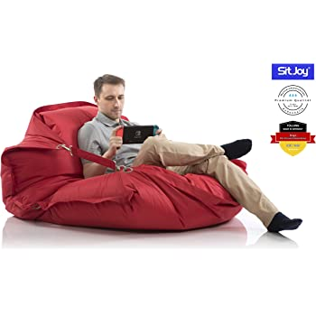 Sitjoy Fashion Sitzsack | 140x200 cm | Outdoor & Indoor | 390 Liter Füllung (Rot mit Ringen | EPS Styropor Perlen)