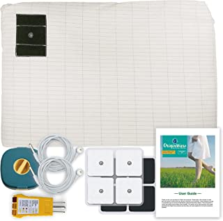 Grounding Queen Size Fitted Sheet with 2 Grounding Cable┃153cm x 203cm x 33cm Queen Size Grounding Sheets┃Bonus 8 Small Gr...