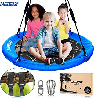 40 Inch Flying Saucer Tree Swing for Kids - Round Indoor Outdoor Swingset Toys - 450 Pounds Sensory Web Tire Swings - 2 Tree Straps, 2 Carabiners, 1 Swivel - Durable Frame, Waterproof Yard Swings Set