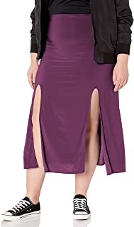 Star Vixen Women's Plus Size Double Front Slit Ity Knit Maxi-Length Easy Pull-on Skirt