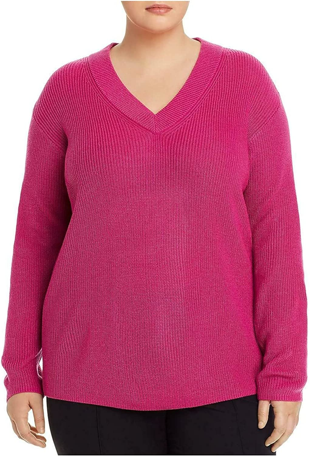 Vince Camuto Womens Plus Ribbed V-Neck Pullover Sweater