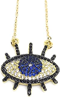 LESLIE BOULES Gold Evil Eye Necklace 18K Gold Plated Chain 18 Inches Fashion Jewelry