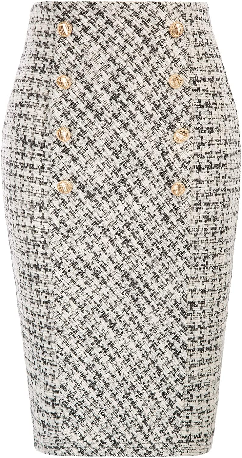 Belle Poque Women's Tweed Skirt Stretchy Business Pencil Skirt Double Breasted