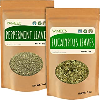 Yamees Eucalyptus and Peppermint - 2 Pack 3oz Each - Dried Cut Leaves - Natural Herbal Tea - Loose Tea