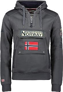 Geographical Norway Gymclass - Felpa con Cappuccio, da Uomo, Infilabile dalla Testa