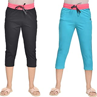 A9- Women Solid Capris (Black, Turqoise) - Pack of 2