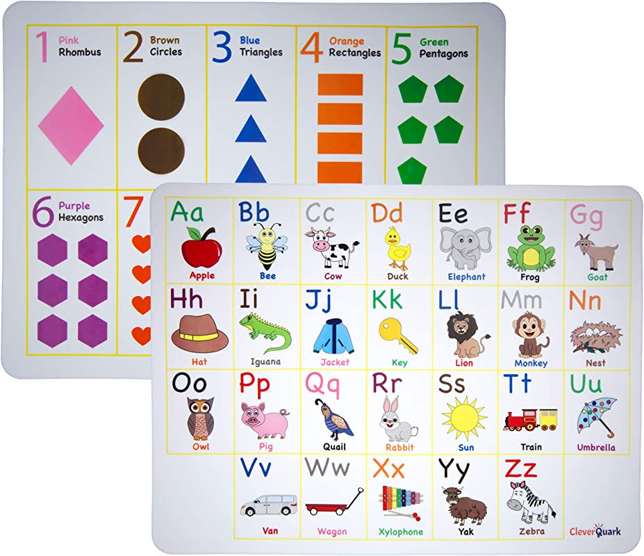Clever Quark Kids Educational Silicone Placemats Set Of 2 Alphabet Phonics Numbers Shapes Colors Rollable Washable Non Slip 100 Food Grade And BPA Free