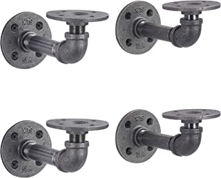 Rustic Pipe Decor Industrial Shelf Brackets – Double Flange Bracket Set of Four, Iron Metal Grey Black Fittings, Custom DIY Floating Shelves, Vintage Furniture Decorations, Wall Mounted (4 Inch Pipe)