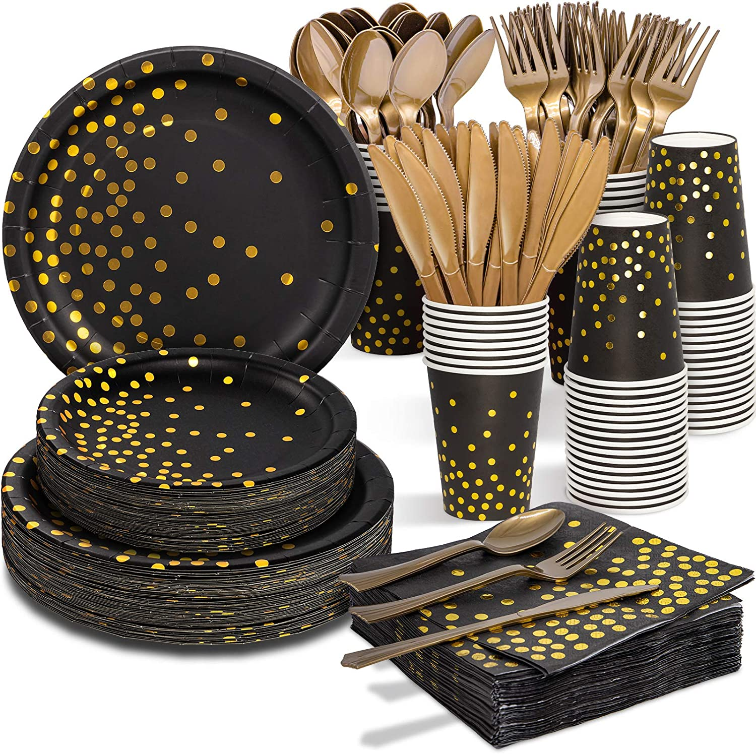 Black and Gold Easy-to-use Wholesale Party Supplies - Dinnerware 350 PCS Se Disposable