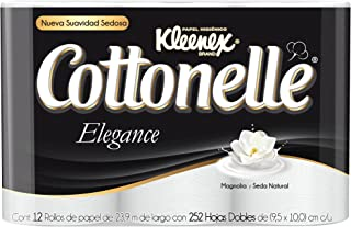 Kleenex Cottonelle Elegance, Papel Higiénico, color Blanco, 12 Rollos de 252 Hojas