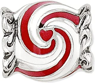 Brighton Peppermint Candy Bead Enamel Red White Silver Plated