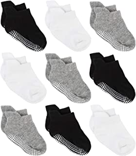 Baby Non Slip Grip Ankle Socks with Non Skid Soles for Infants Toddlers Kids Boys Girls