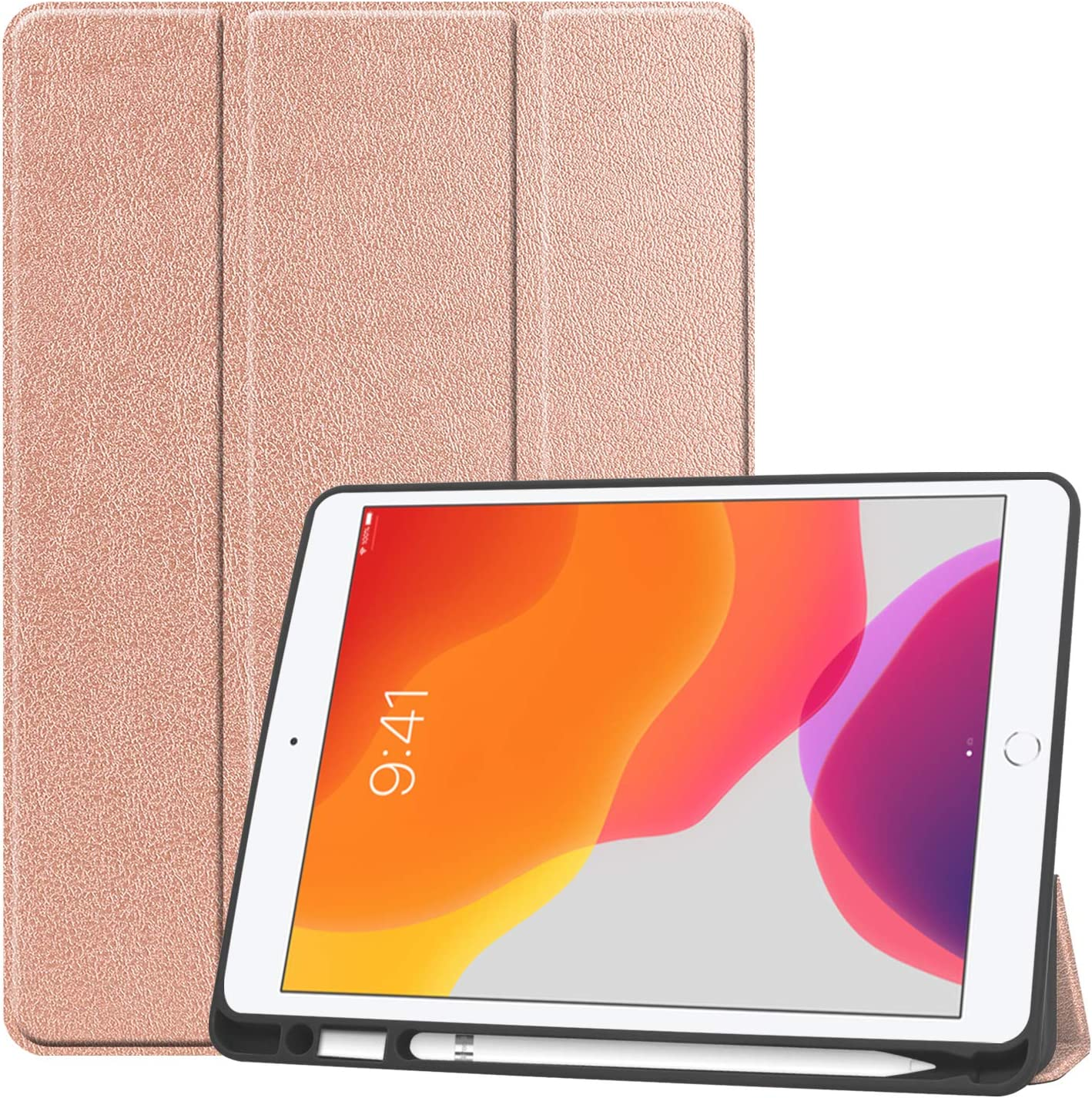 SZJCLTD iPad 10.2 Case & Pencil Holder- Slim Tri-Fold Case for iPad 8th Gen 2020/ iPad 7th Gen 2019 Apple Tablet, with Microfiber Inner Lightweight Smart Cover Auto Wake/Sleep (Rose Gold)