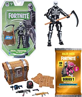Fortnite Skull Mode Series Figure Solo Trooper Bundled Trading Cards Pack & Loot Chest Gear 3 Items