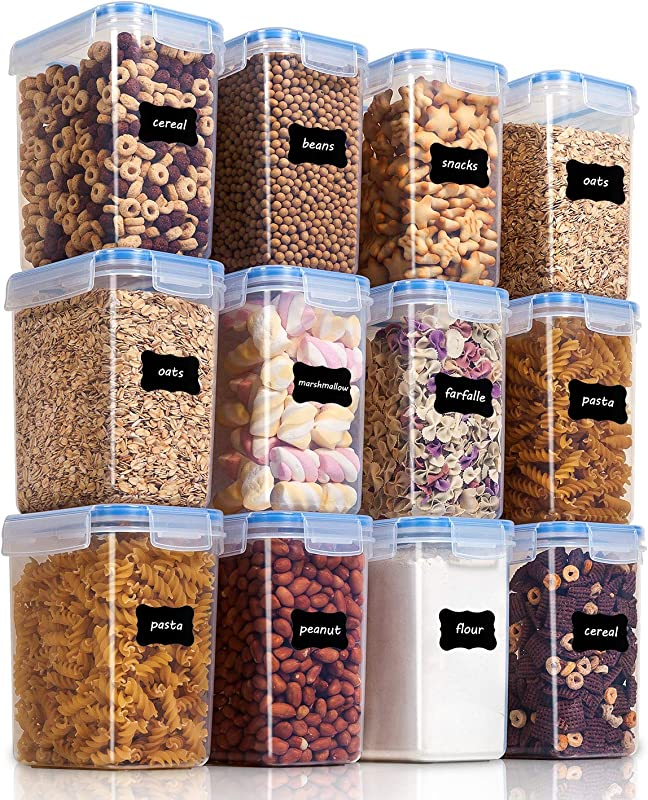 Vtopmart Airtight Food Storage Containers 12 Pieces 1 5qt 1 6L Plastic PBA Free Kitchen Pantry Storage Containers For Sugar Flour And Baking Supplies Dishwasher Safe 24 Labels And 1 Marker