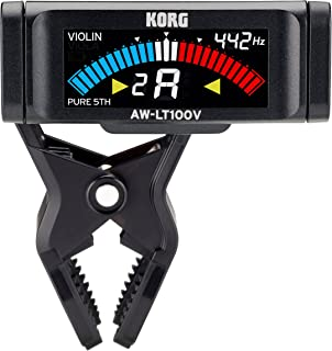 KORG 100時間連続駆動 ヴァイオリン/ヴィオラ用 クリップチューナー AW-LT100V ペグボックスに装着 純正5度対応 カラー表示 単4電池1本 軽量 コンパクト