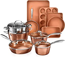 Gotham Steel Hammered Copper Collection – 15 Piece Premium Cookware & Bakeware Set with Nonstick Coating, Aluminum Composi...