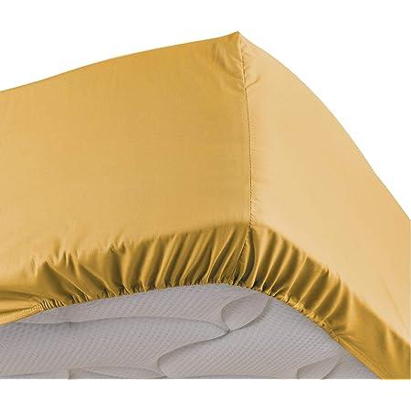 douceur d'intérieur drap housse 2 personnes 160 x 200 cm percaline miel