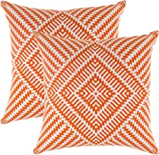 TreeWool Decorative Square Throw Pillowcases Set Kaleidoscope Accent 100% Cotton Cushion Cases Pillow Covers (22 x 22 Inches / 55 x 55 cm; Orange & White) - Pack of 2