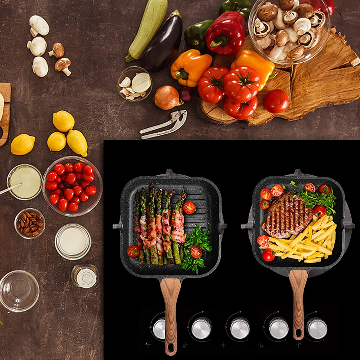 9.5 inch ESLITE LIFE Nonstick Grill Pan for Stove Tops with Pour Spouts Induction Compatible Granite Stone Coating