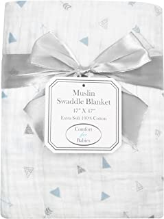 American Baby Company 100% Natural Cotton Muslin Swaddle Blanket, Silver Blue Arrow, 47